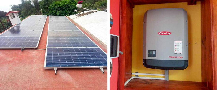 Instalación solar en vivienda unifamilar conectada a la red eléctrica en Lima