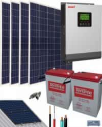 Kit Solar Fotovoltaico 1000W 12V 3000Whdia  con Batería de Gel